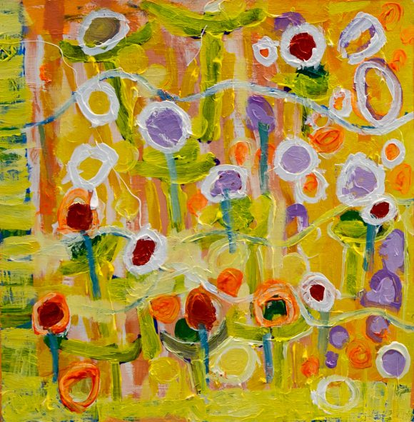 David Guhl, 'Wildflower Study' (detail), acrylic on canvas, 54 x 54 cm
