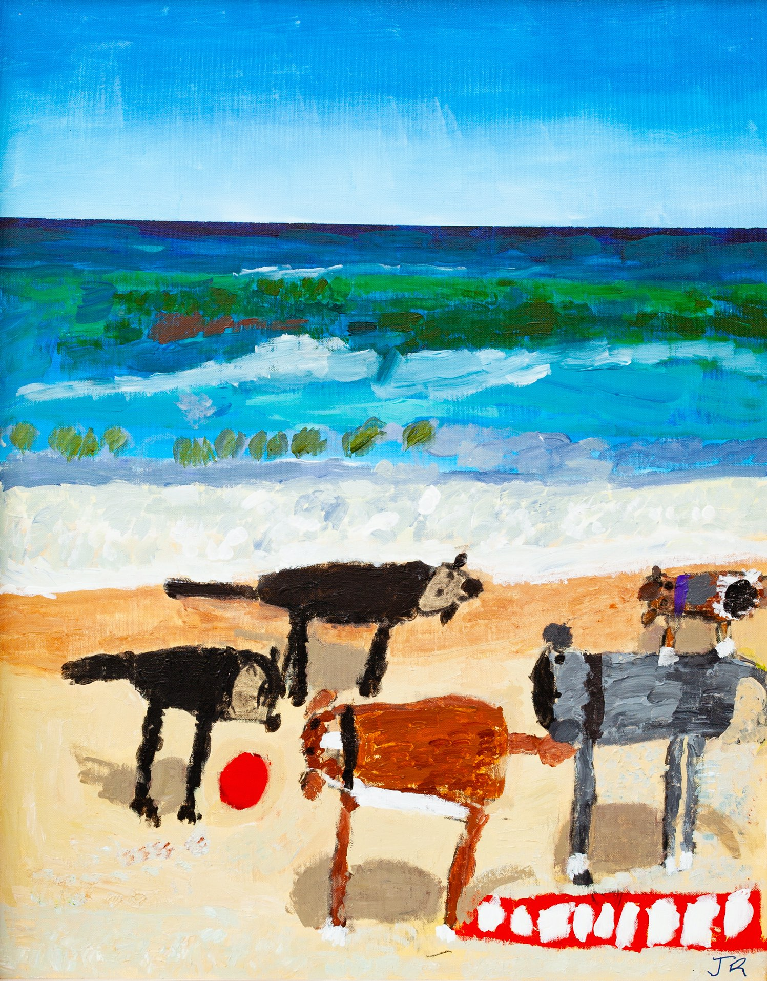 A painting of five dogs of varying colours and sizes on the sand, one with a ball, standing on the cream sand and in front of a blue ocean with waves and a blue sky