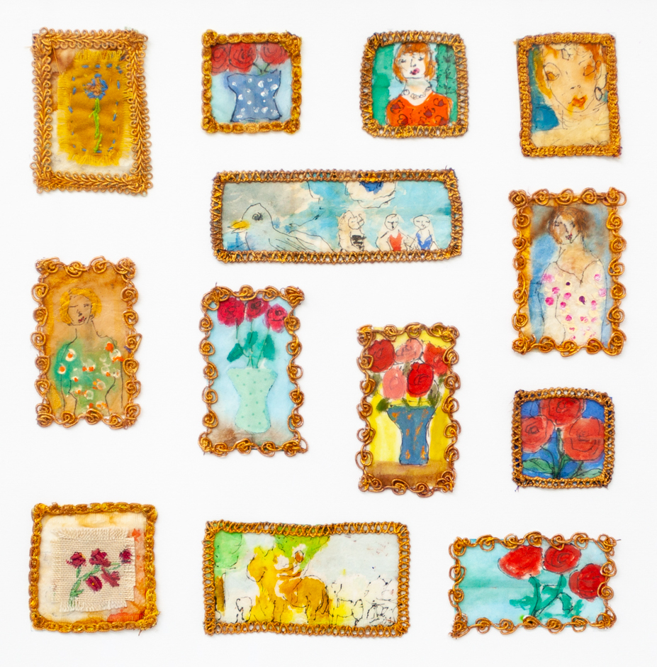 13 small drawings each frames in a golden frame and detailing images of people and flowers