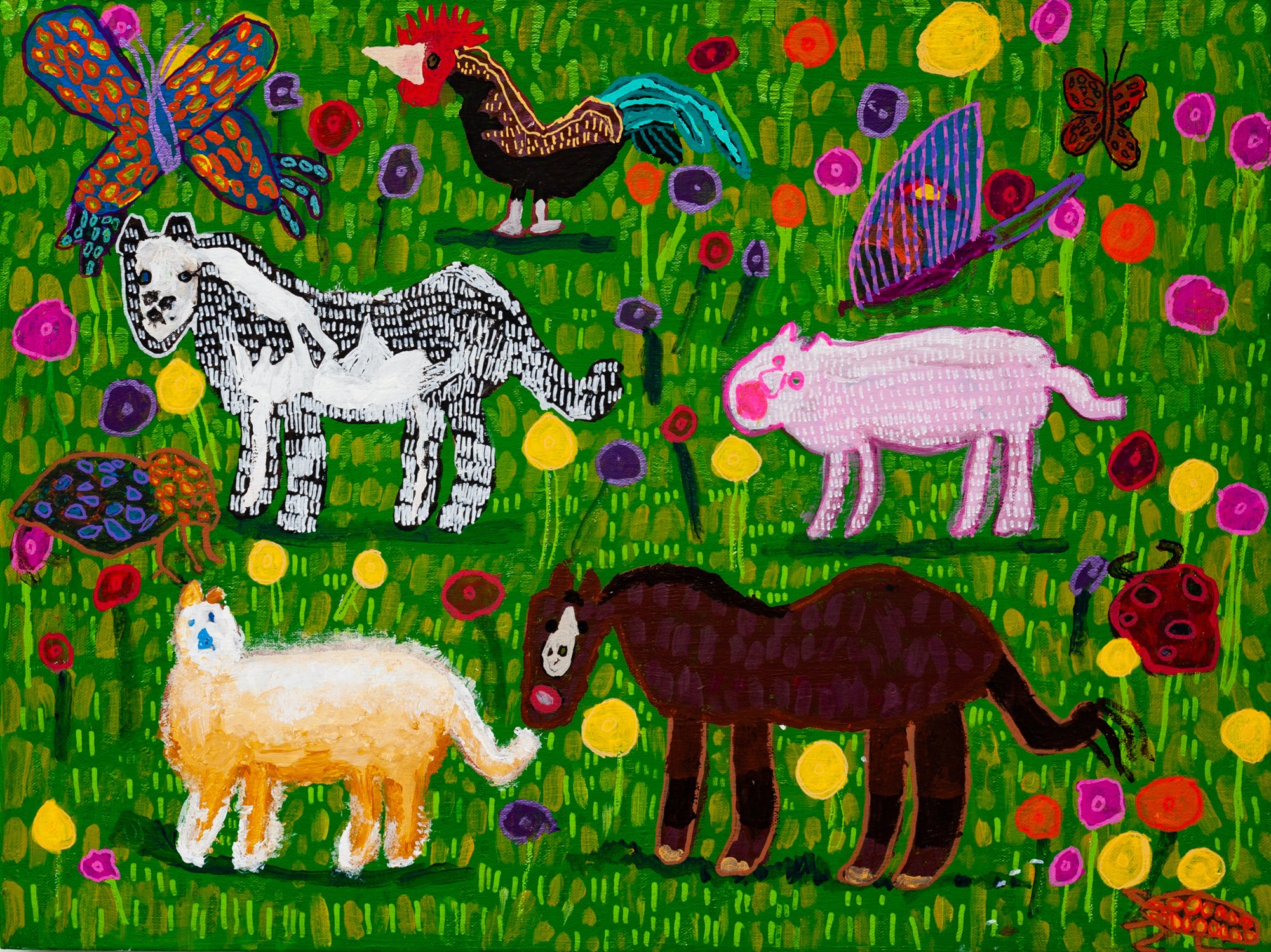 Various fam animals including a chicken, pig and horse eating green grass in a paddock